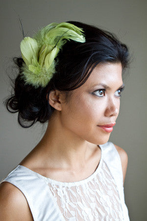 """Sophia"" Lime Green Feather Fascinator"