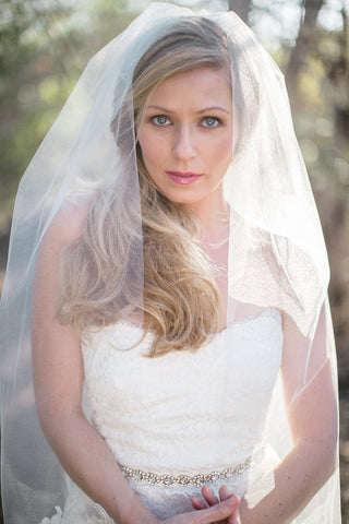 """Penelope"" Single Tier Fingertip Length Bridal Veil"