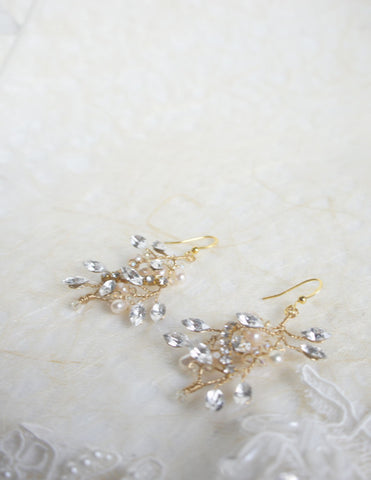 """Sybil"" Crystal Handmade Earrings"