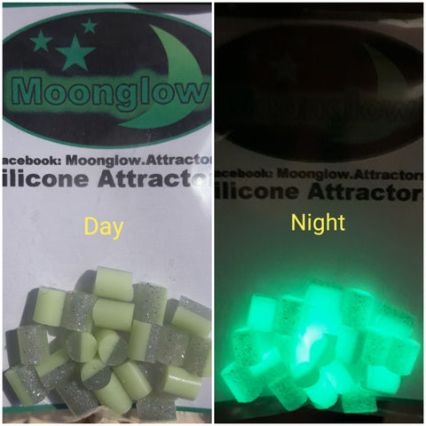 Moonglow 6mm two tones. Lumi green and glitter