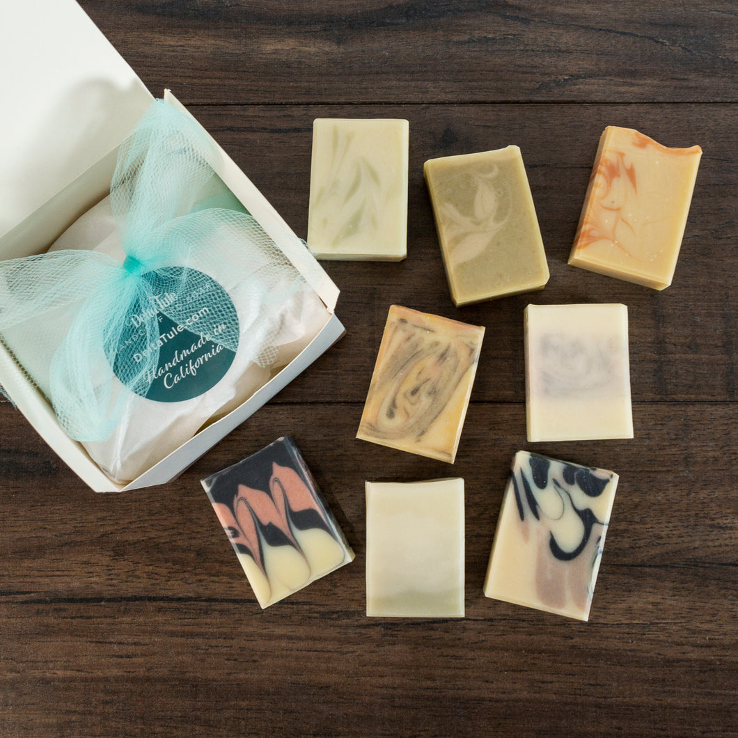 Half Bar Boxed Set: 8 Half-Size Handmade Soaps with Essential Oils, Natural Colors