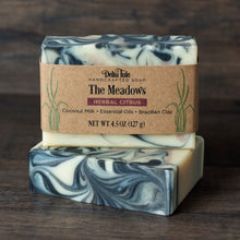 Load image into Gallery viewer, The Meadows // Herbal Citrus Coconut Milk Soap with Charcoal & Clay