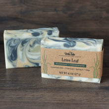 Load image into Gallery viewer, Levee Leaf // Cedar Rosemary Soap with Charcoal, Clay & Spinach