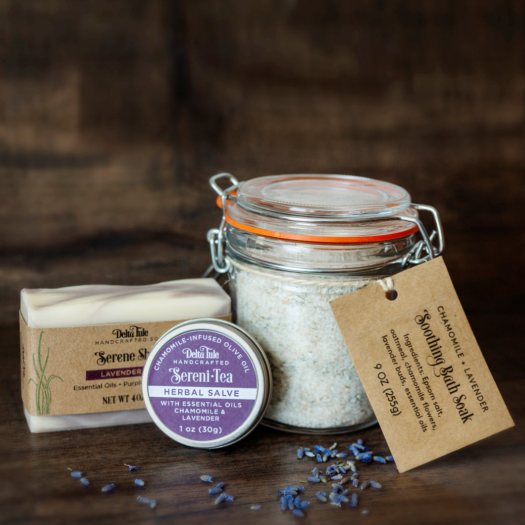 Soothing Soak, Soap, and Salve Set