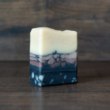 Load image into Gallery viewer, Rocky Shore // Black Pepper & Grapefruit Charcoal + Purple Clay Half-Bar Soap