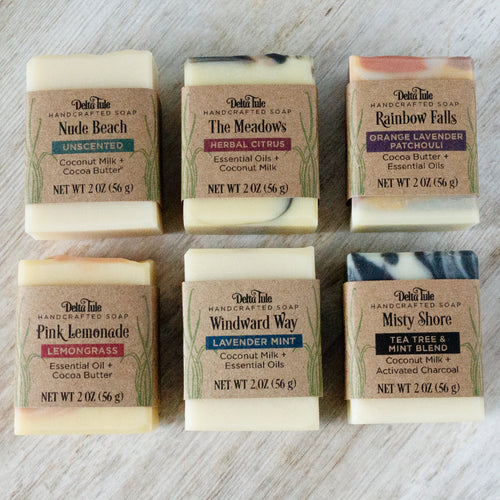 Boxed Set of 6 Mini Handmade Soaps with Essential Oils, Natural Colorants