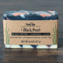 Load image into Gallery viewer, Black Pearl // Black Pepper & Grapefruit Charcoal + Rose Clay Soap
