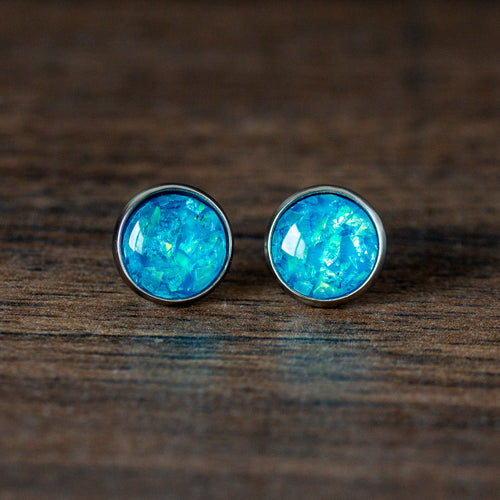 Bejeweled Mermaid Stainless Steel Stud Earrings