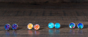 Iridescent Orchid Resin Druzy Stainless Steel Stud Earrings