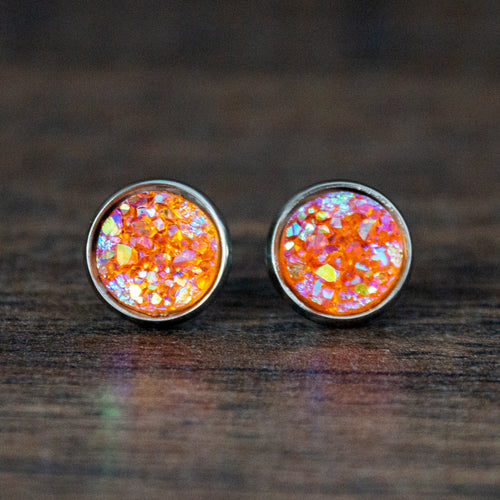 Coral Resin Druzy Stainless Steel Stud Earrings