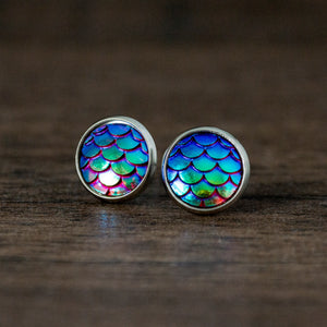 Mermaid Scales Stainless Steel Stud Earrings