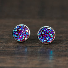 Load image into Gallery viewer, Iridescent Orchid Resin Druzy Stainless Steel Stud Earrings