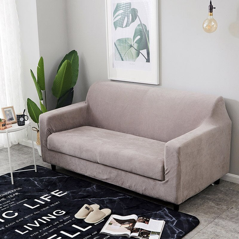 Plush Fabirc Elastic Sofa Cover Cotton Solid Color Universal Sofa Covers for Living Room Stretch Sofa Slipcover for Winter 1/2/3/4 Seater Couch Cover