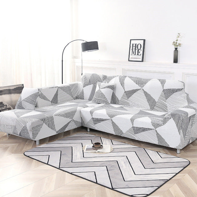 Elastic Stretch L Shaped Couch Slipcover Case Chaise Longue Corner Sofa Cover Covers for Living Room Sofa L Shape Pets Corner Geometric Couch - HomeSofaCover