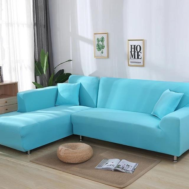 Stretchable Cover - LShape 2pcs solid color Sofa Cover L Shaped Set Couch Cover Elastic Corner Sofa Covers Living Room Stretch L Shaped Slipcover - HomeSofaCover