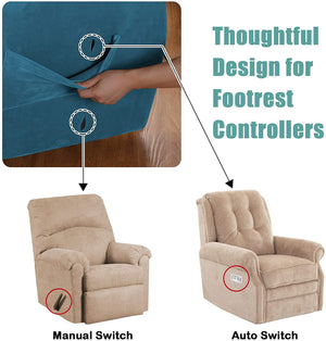Stretch Recliner Covers Stretch Recliner Slipcovers Velvet Recliner Chair Cover for Large Recliner Furniture Protector with Elastic Bottom 1 Piece with Side Pocket For Recliner
