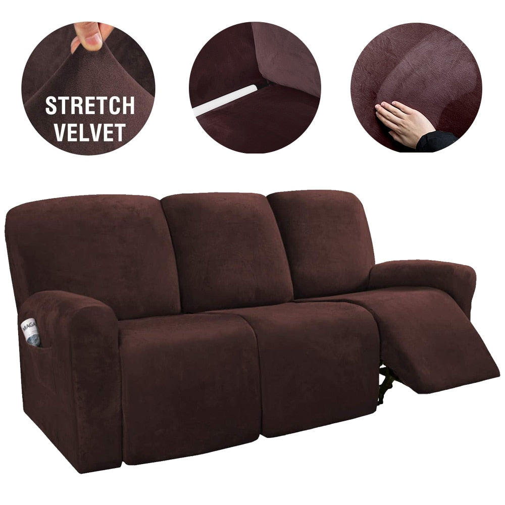 Velvet Stretch Recliner Sofa Cover Non-slip All-inclusive Recliner Chair Covers Sofa Slipcover for 3 Seat Suede Armchair Slipcover Waterproof Furniture Cover