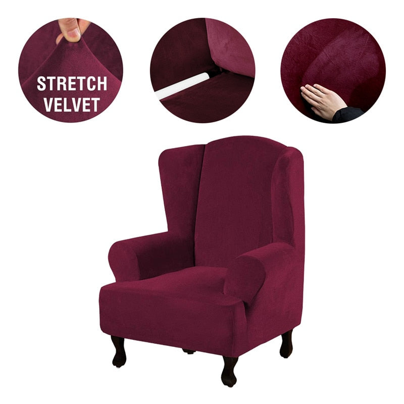 High Grade Velvet Elastic Wing Armchair Slipcover Velvet Plush Wing Back Chair Sofa Cover Plush Stretch Washable Removeble Furniture Protector