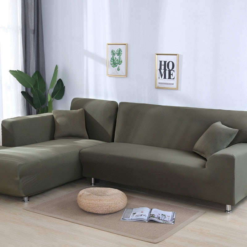 Grey Plain Color Elastic Stretch Sofa Cover Need Order 2Piece Sofa Cover Corner Sofa Cover If L-style Fundas Sofas Con Chaise Longue Case for Sofa