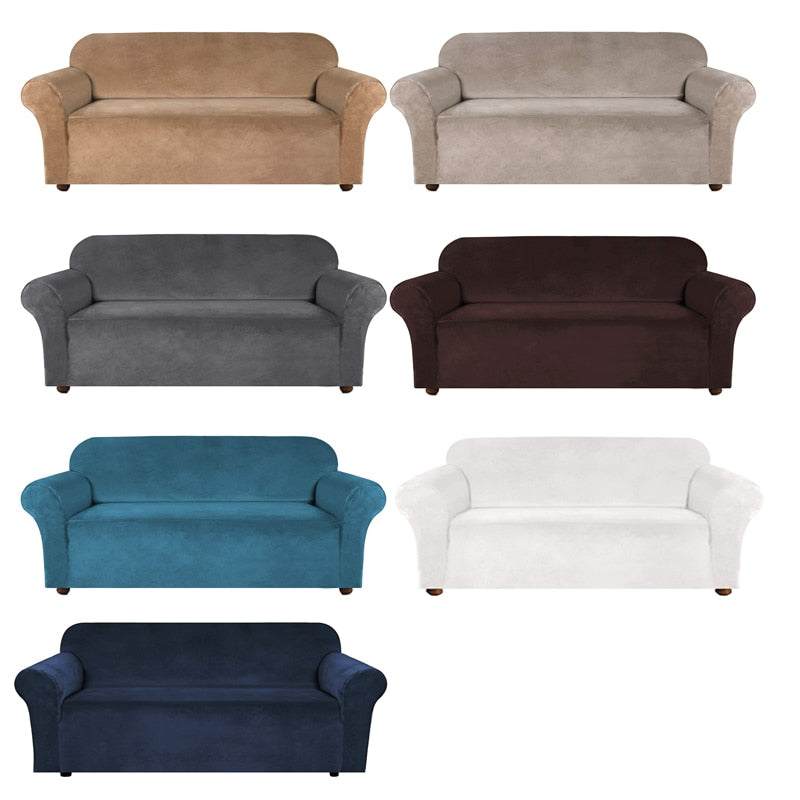 New High Grade Velvet Stretch Sofa Cover Loveseat Couch Slipcover Armchair Covers Couch Furniture Protector Case Sofa Cover Elastic 1/2/3/4 Seater