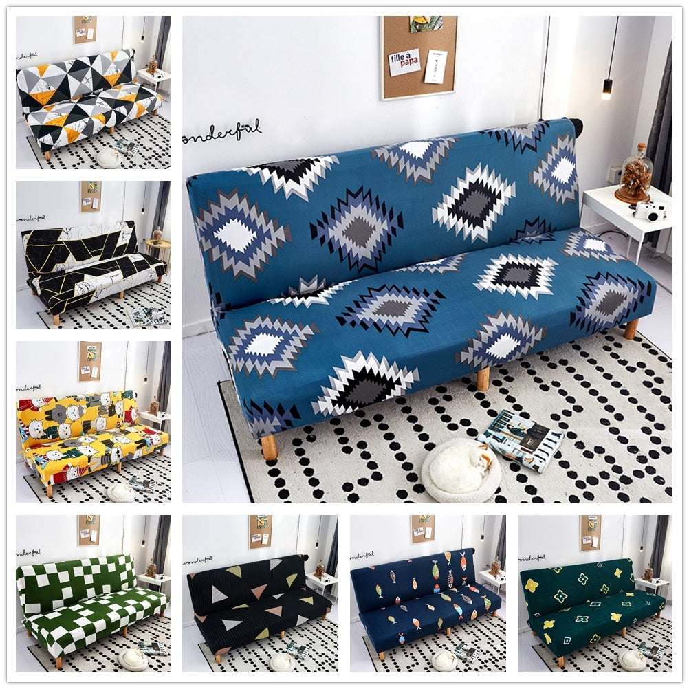 Fashion Sofa Bed Cover Modern Geometric Print Folding Sofa Bed Cover Without Armrest Universal Stretch Couch Cover Furniture Slipcover Sofa Protector - HomeSofaCover