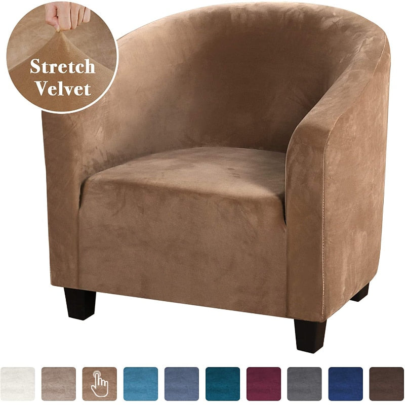 Velvet Club Chair Covers Elastic Club Tub Couch Cover Single Seat Armchair Tub Chair Cover Furniture Protector Slipcovers Sofa Covers