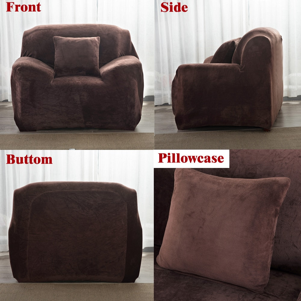 Plush Thicken Sofa Cover Protector Polyester Stretch Corner Elastic Couch Covers Blankets Sectional Slipcover Decor Winter 1/2/3/4 Seater Couch Cover