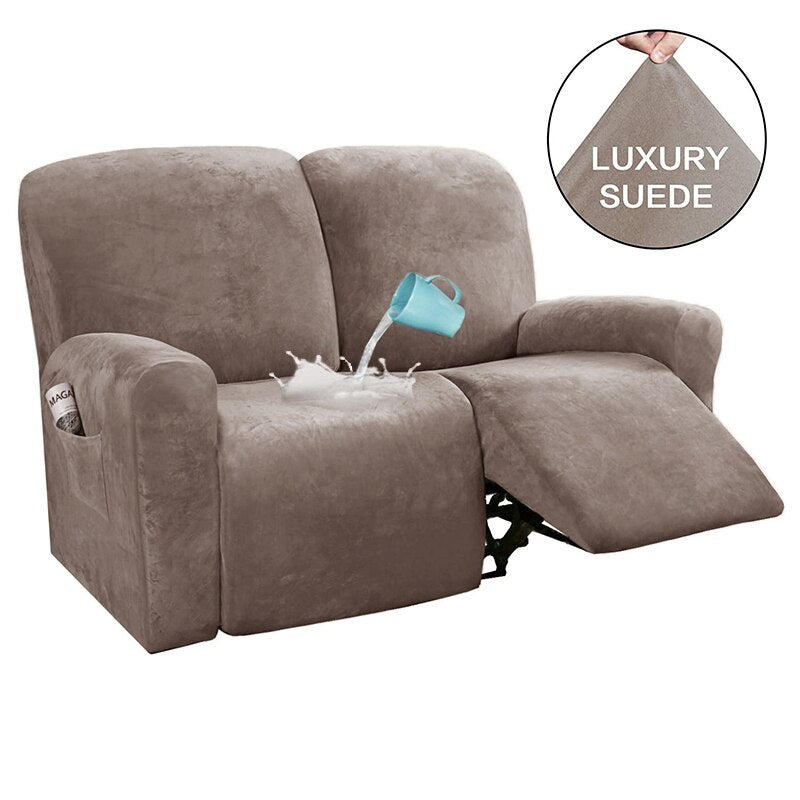 2 Seats Recliner Sofa Chair Cover All-inclusive Non-slip Sofa Couch Cover Slipcover Velvet Stretch Elastic Recliner Double Seat Sofa