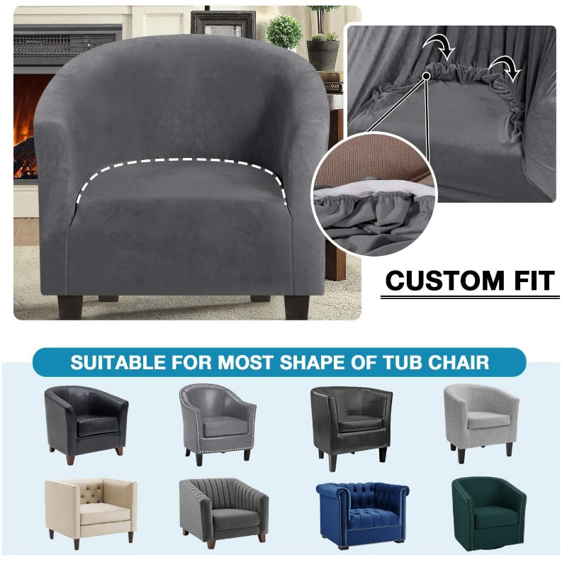 Velvet Club Chair Covers for Armchairs Stretch Sofa Slipcovers Removable Tub Sofa Couch Cover for Bar Counter Club Sofa Covers