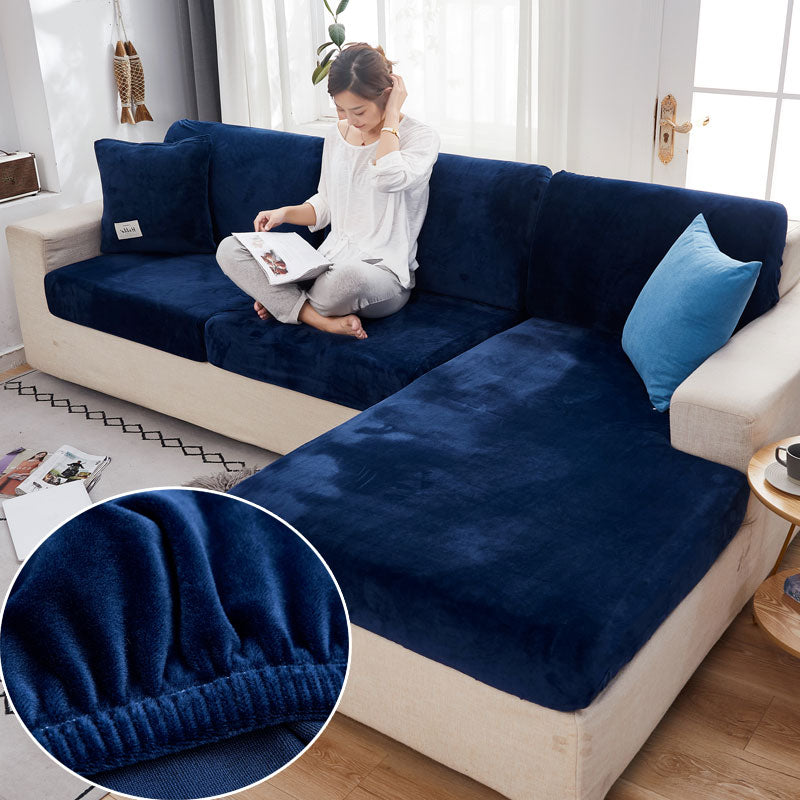 Velvet Sofa Seat Cover Cushion Cover Thick Jacquard Solid Soft Plaid Polyester Slipcover Stretch Sofa Slipcovers Funiture Protector
