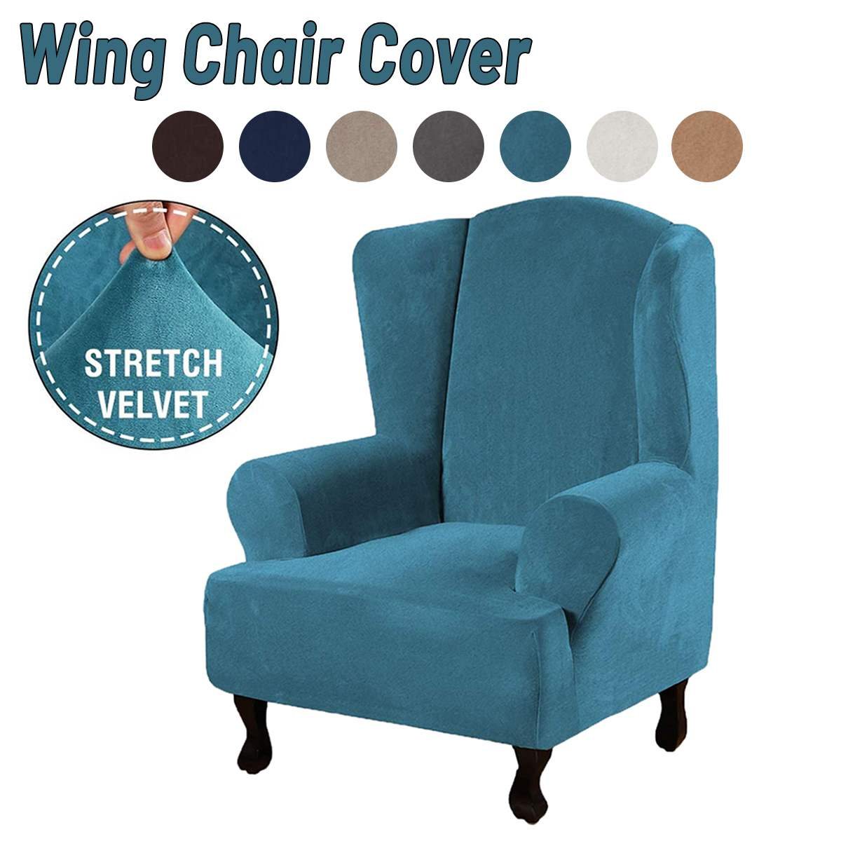 New High Grade Velvet Sofa Chair Cover Waterproof Dust-proof Stretch Wing Chair Cover Wingback Armchair Protector Cover Furniture Cover Stretch