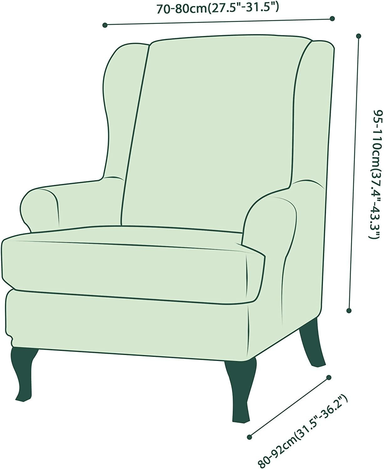 Wing back Chair Cover Jacquard Spandex Stretch Slipcovers for office Chairs King Chair Sofa Coves Stylish 2 Piece Set With Elastic Band