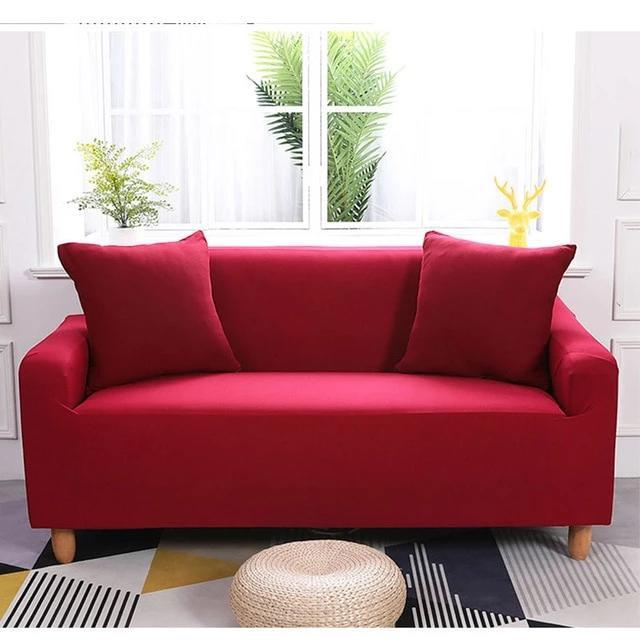 Elastic Sofa Covers Stretchable Plain Color HomeSofaCover Solid Color Corner Cotton All-inclusive Stretch Slipcover Couch Cover Sofa Armchair Cover - HomeSofaCover