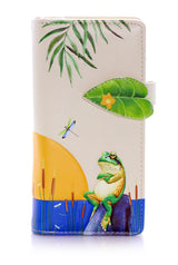 Sunset Frogs Large Zipper Women's Wallet