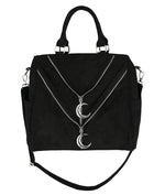 Gothic Double Zipper Moon Crescent Bag