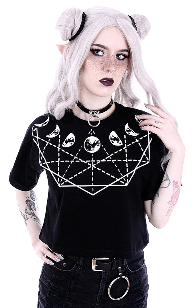 Moon Geometry with Moon Phases Gothic Women's Crop Top