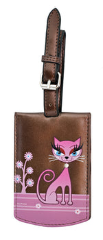 Shagwear Diva Kitty Faux Leather Luggage Tag, Metallic Brown