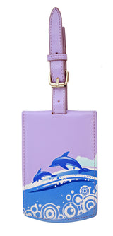 Shagwear Dolphin Faux Leather Luggage Tag, Purple