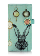 Shagwear Pocket Watch Rabbit Large Zipper Wallet, Teal