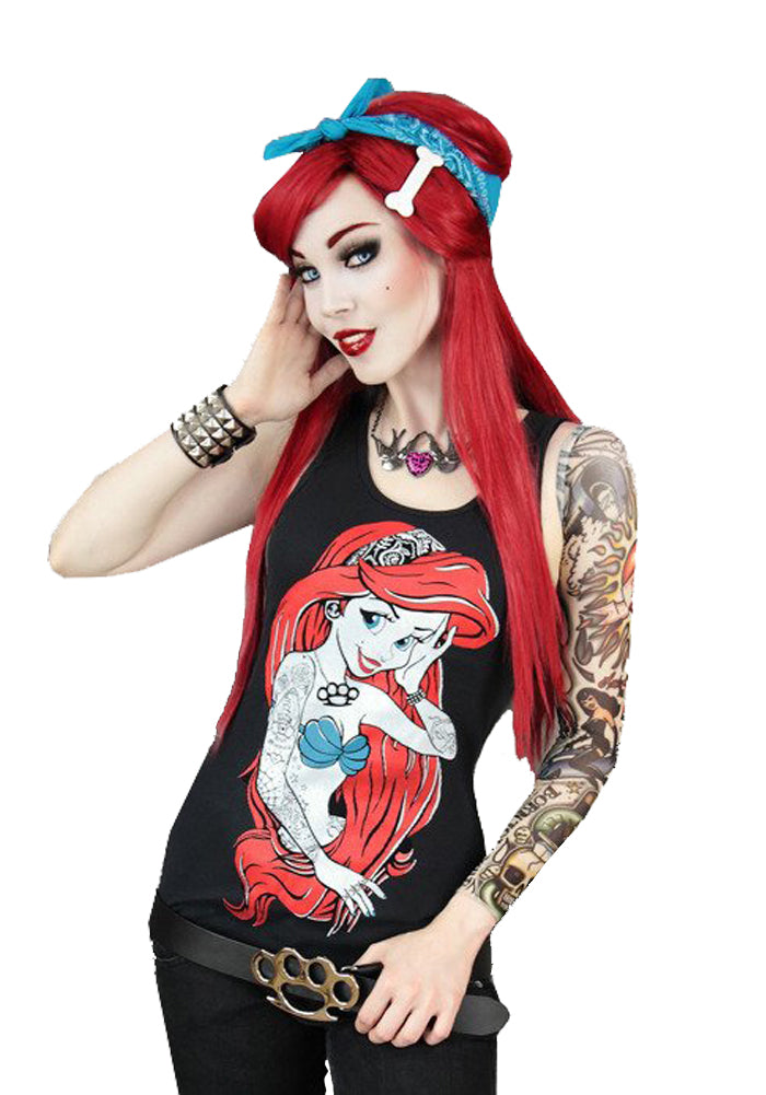 Rebel Mermaid Rockabilly Tank Top, Black, XS
