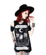 Squad Goals Gothic Witches Cold Shoulder Shirt, Black