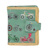 Shagwear Vintage Bicycles Pattern Small Zipper Women's Wallet, Green