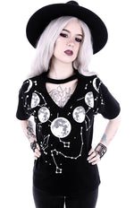 Moon Phases V-Neck Choker Gothic Shirt, Black