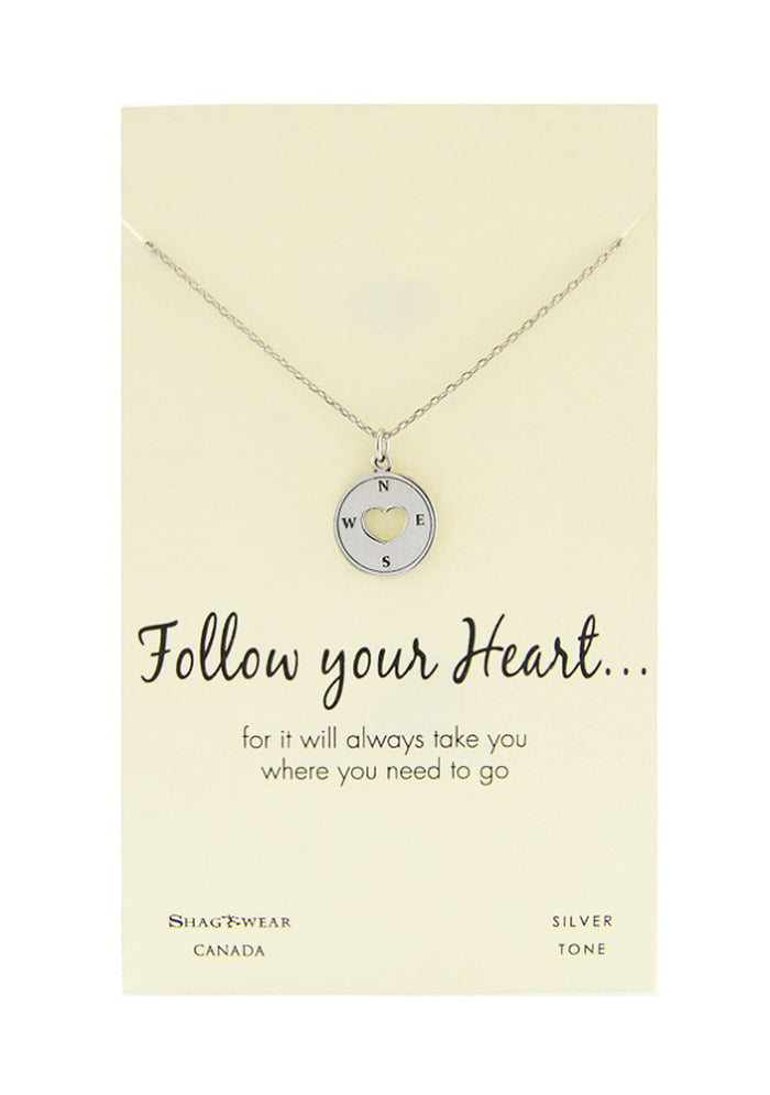 Shagwear Follow Your Heart Pewter Necklace