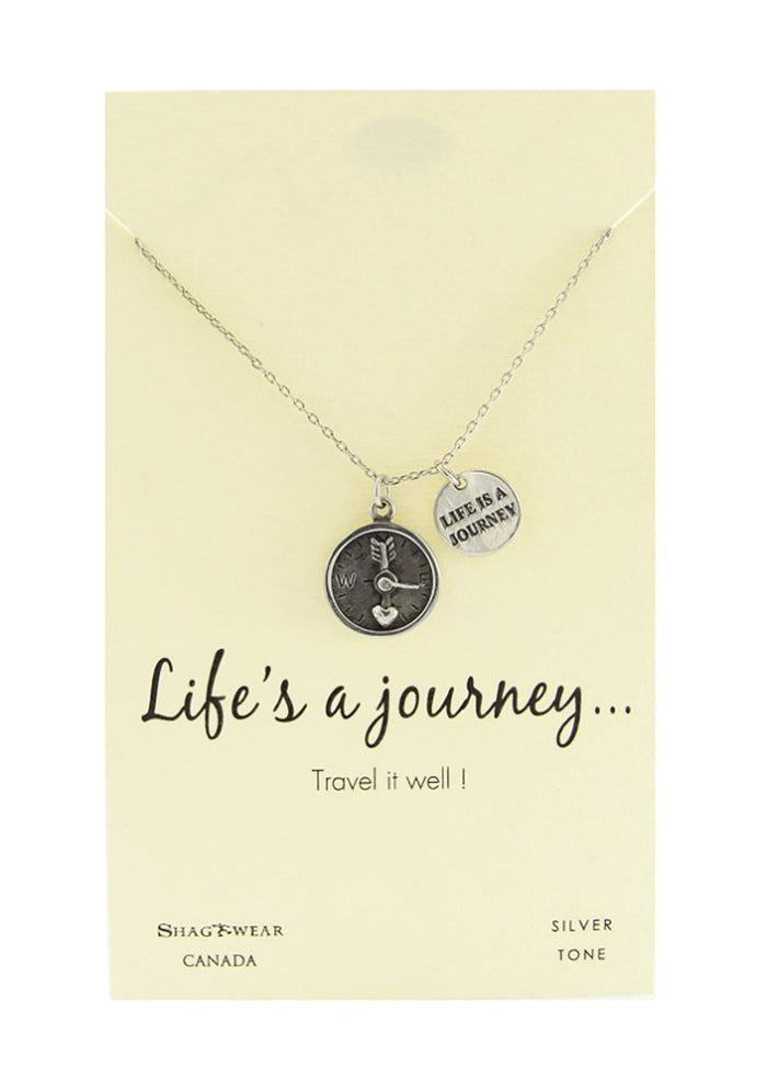 Shagwear Life's a Journey, Travel it Well Pewter Necklace