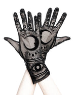 Gothic Mesh Fortune Teller with Moon and Zodiac Signs Gloves