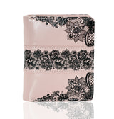 Shagwear Lace Pattern Short Snap Zipper Wallet, Pink