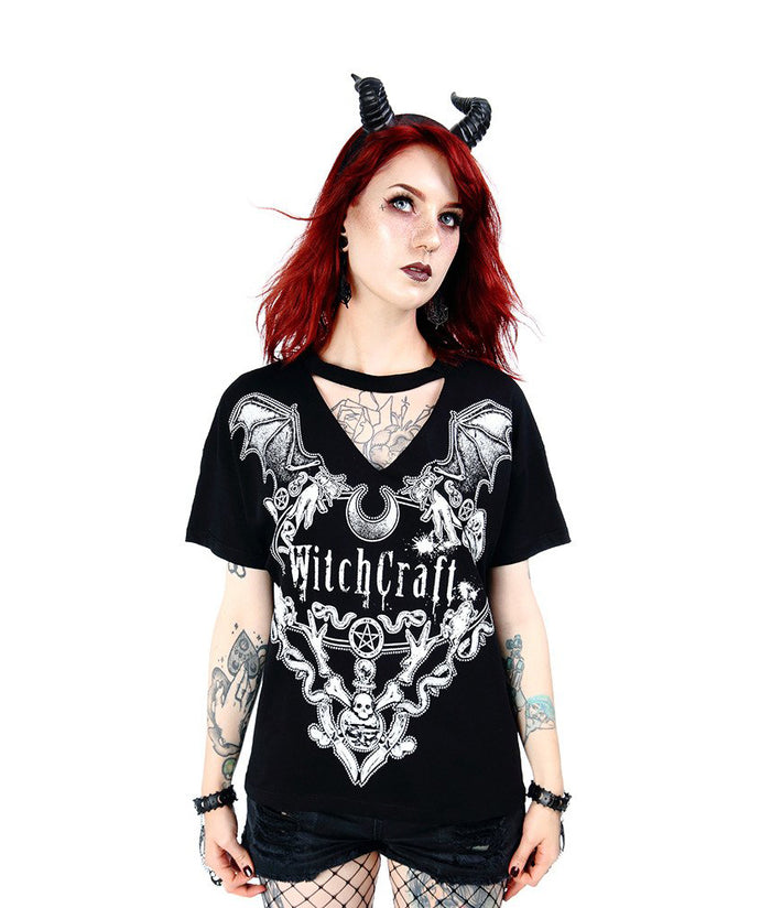 Witchcraft Gothic V-Neck with Choker Shirt, Black