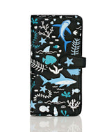 Shagwear Shark Pattern Large Zipper Bi-Fold Women's Wallet, Black