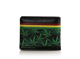 Shagwear Rasta Men's Faux Leather Bi-Fold Wallet, Black